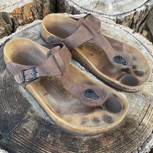 Betula Birkenstock Brown Leather Gizeh Sandals 8